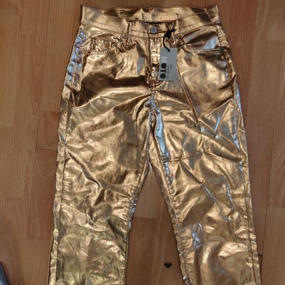 Gold Kick-Flare Shiny Party Pants